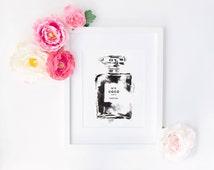 Coco No.5 Perfume Paris Chanel Watercolour Painting