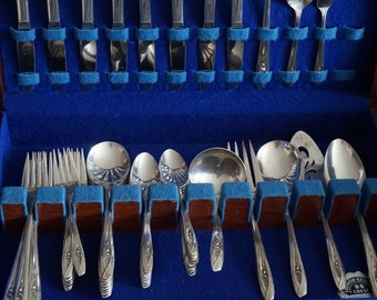 Vintage, International Silver Tulip Flatware Set with Wooden Box
