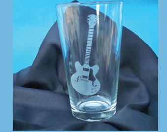 Guitar Etched Pint Glass, 16 oz. Pint Glass, Acoustic Guitar, Guitar Jazz Artist, KC guitar, KC guitar artist