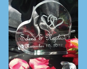Personalized Heart Wedding Cake Topper -  Personalized - Acrylic