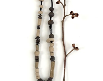 Modern bead necklace,  Long Statement Necklace,  Ceramic Necklace, Beaded Necklace, Ceramic Jewelry, Minimalist Necklace