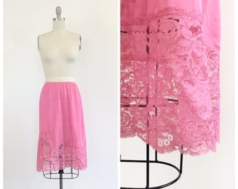 60s Pink Nylon Half Slip - 1960s Vintage Lace Skirt Slip - Small - Size 6