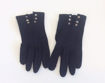 50s Crescendoe Black Leather Tailored Gloves / 1950s Vintage Wrist Gloves With Buttons / Size 6 1/2
