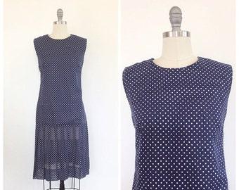 SUMMER SALE /// 60s Navy Blue Polka Dot Drop Waist Mini Dress / 1960s Vintage Flapper 1920s Cotton Sheer Deadstock Day Dress / Large / Size