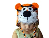 Tiger Hat, Knit Kids Hat, Knit Animal Hat, Crochet Tiger, Crochet Animal, Kids Winter Hat, Girls Hat, Boys Hat, Toddler Dress Up, Orange Hat