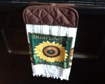 Hanging Sunflower kitchen towel with attached pot holder