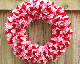 "Valentine's Day Rag Wreath 17"", Valentines Day Decor, Baby Shower Wreath, Nursery Decor, Its a Girl"