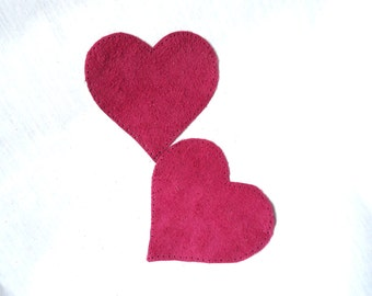 Heart elbow patch, fuchsia colour leather patch, suede leather patches, heart leather applique, sweater patches, leather knee patches