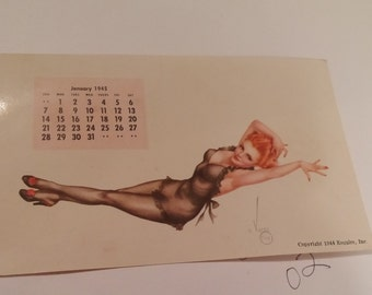 Vargas Pinup girls Calendar...Jan.,Feb.,March,April and May.1945. Also December 1943. Glossy finish.