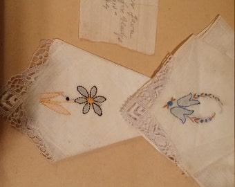 Lot of 6 Vintage hankies dated 1910/1918. See picture. Original box.