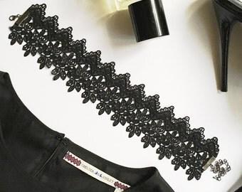 Wide Black Lace Choker / Thick Black Choker/ Black Choker Necklace