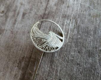 Silver Tone Aquarius Zodiac Water Bearer Stick Pin