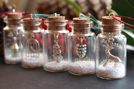 Christmas tree decorations, Christmas tree ornaments, glitter bottles, Christmas gift, Christmas decoration, Reindeer gift, small bottles