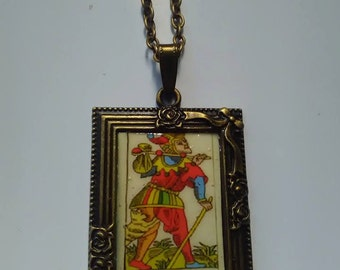 tarot card bronze picture pendant necklace