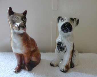 CERAMIC DOGS Made in BRAZIL - Large Pair of Dog Statues