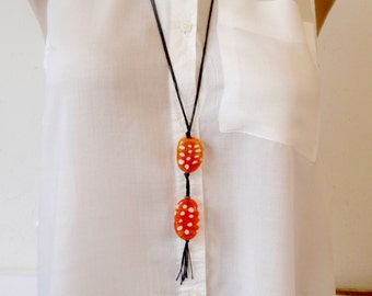 Long Lampwork necklace, Orange Glass beads In Handmade, Glass Beads Necklace, Artisan Necklace, Christmas Gift For Her