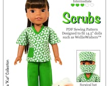 Pixie Faire Love U Bunches Scrubs Doll Clothes Pattern for 14.5 Inch Dolls Such As WellieWishers Dolls  - PDF