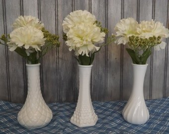 Vintage Milk Glass Bud Vases/Bridal Vases/Set of Three Flower Vases/Wedding Decor/Home and Living/Home Decor/Bridal Shower/
