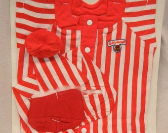 Vintage Teddy Ruxpin outfit, new on card red and white striped pajamas