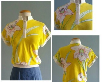 Late 1970s orchid print top.