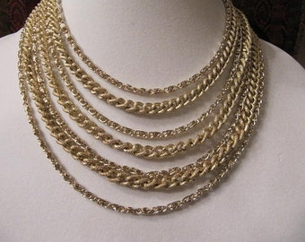 Vintage Gold Layered Chain Necklace