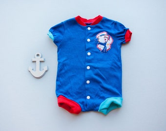 Vintage 80's Blue Nautical Sailor Bear Applique Onesie Bodysuit Sleeper / Snap Front / 6 Months Baby Boy