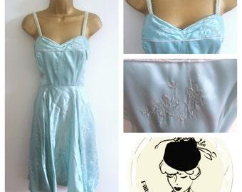 Vintage 1950s Sky Blue Handmade Prom Dress