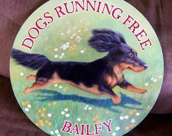 Running dog painted on wood