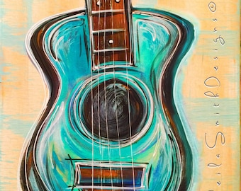 """Pale yellow, soft blue Guitar Painting, Music Art on stretched canvas """"Blue Music"""" by Sheila Ann Smith"""
