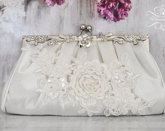Ivory Bridal  Purse Bag Clutch with Crystals and Pearls, Beade Lace
