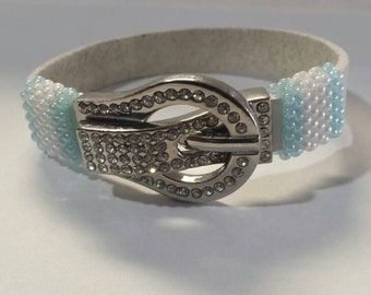 Calming Waters One of a Kind Handmade White and Baby Blue Beaded Leather Bracelet