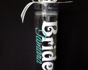 Personalized Bachelorette Party Skinny Tumbler Acrylic Tumbler Tall Wedding Cup