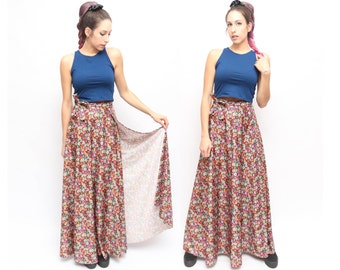 Vintage 70s 90s Grunge Hippie Floral FESTIVAL Flower Child Quality Made High Waisted Wrap Maxi Skirt