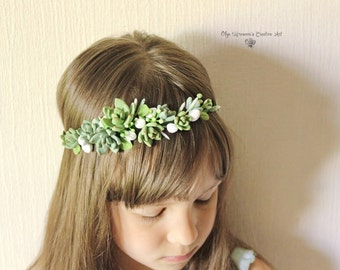 Wedding succulent headband Bridal headwreath with succulents and flowers boho untailored floral crown Wedding floral tiara Bohemian headband