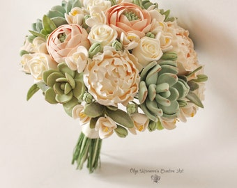 Alternative wedding bouquet Keepsake Wedding set Peach Blush peonies Green Succulents Bridal bouquet Clay flowers bridal bouquet wedding