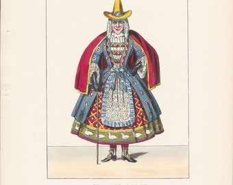 Vintage Fashion Print Hand Colored Lacy's Dramatic Costumes Mother Goose