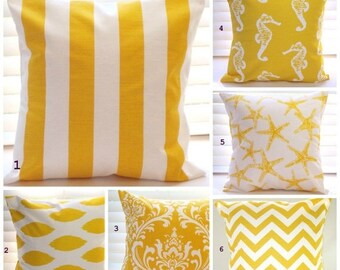 SALE Pillow Cover, Pillow, Decorative Throw Pillow, Nautical, Beach Decor, Coastal Decor, Decorative Pillow, Yellow Pillows,Fast Shipping