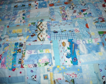 Baby  Quilt for Boys with ADC's on white back ground