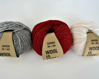 Wool Yarn Red 50gr 1,7oz skein, each skein contains approximately 90m 98 yds