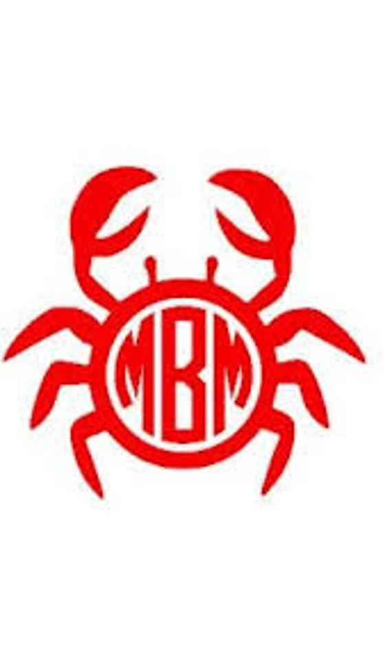 Crab Monogram crab monogram decal Crab tumbler monogram circle monogram decal tumbler monogram clipboard monogram