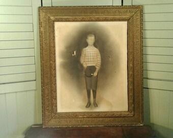 Original Antique Primitive Art 1800's Paper On Canvas Monotone Portrait Young Boy Hat Knickers Large Ornate Wooden Plaster Gold Frame Creepy