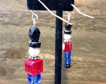 Swarovski Toy soldier earrings, toy soldier earrings, swarvoski, holiday