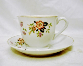 Mini Porcelain Cup & Saucer Set with Hand Painted Floral Design-2-3 Ounce Size