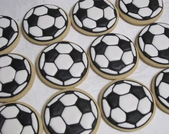 Soccer Ball Cookies - Sports Theme Decorated Sugar Cookie Party Favors, Birthday Party, FIFA Sports Cookies, Team Party, Custom Cookies