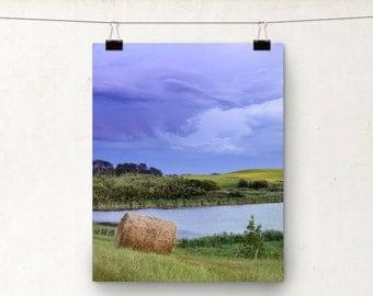 Prairie Storm Clouds, Hay Bale, Canola Field, Alberta Landscape Photo