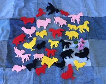 Barnyard Animals, Colorful, Stiff Felt, Appliqués, Sewing and Crafting, Horses, Cows, Pigs, Chickens, Assorted Sizes