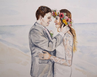 Wedding Portrait Watercolor Painting, custom original art, first anniversary paper gift, thoughtful unique one year gift