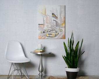 Large Canvas Painting, New York Taxi