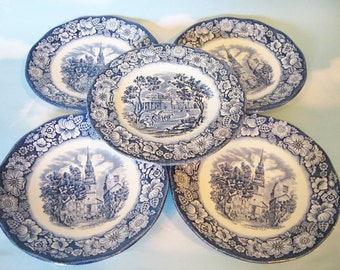 Liberty Blue, 4 saucers and 1 bread and butter plate, Independence Hall on Staffordshire Ironstone, Blue and White dishes
