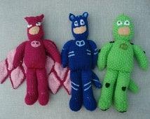 SALE Set 3 PJ Masks Hand Knitted Toys